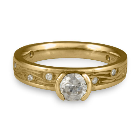 Extra Narrow Starry Night Engagement Ring with Gems in 14K Yellow Gold with Diamond