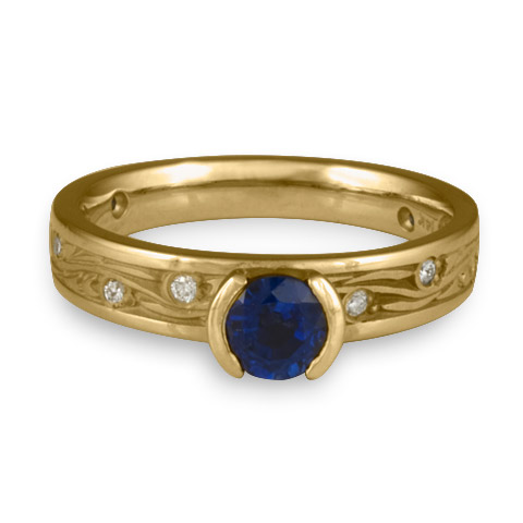 Extra Narrow Starry Night Engagement Ring with Gems in 14K Yellow Gold with Sapphire