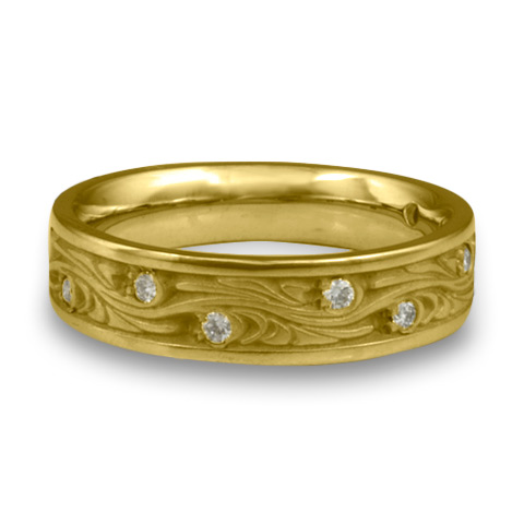 Narrow Starry Night Wedding Ring with Gems in 18K Yellow Gold