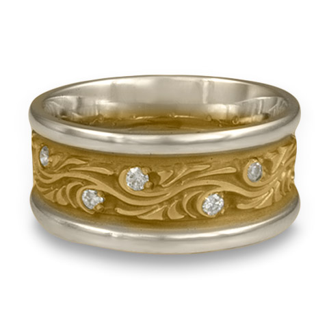 Wide Two Tone Starry Night Wedding Ring with Gems in 14K White Gold & 14K Yellow Gold