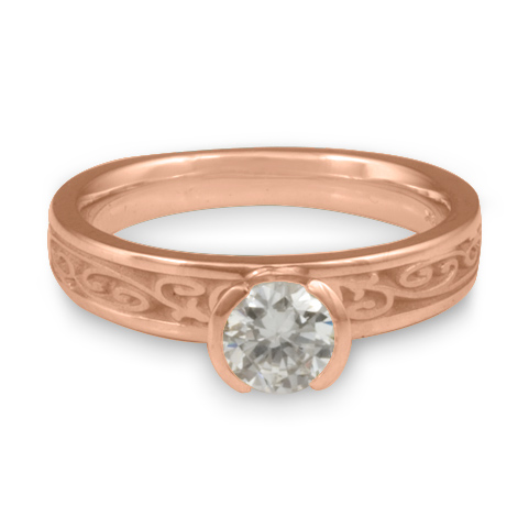 Extra Narrow Continuous Garden Gate Engagement Ring in 14K Rose Gold