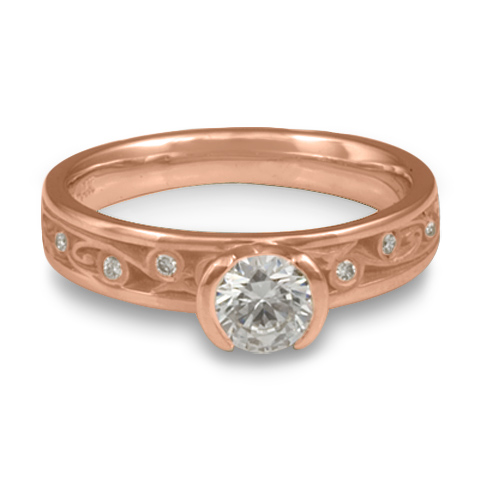 Extra Narrow Continuous Garden Gate Engagement Ring with Gems in 14K Rose Gold