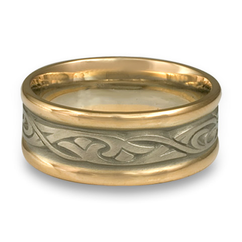 Narrow Two Tone Papyrus Wedding Ring in 14K Gold White  Borders/Yellow Center Design
