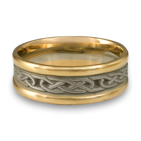 7322a0c98 Extra Narrow Two Tone Love Knot Wedding Ring in 14K Gold Yellow  Borders/White Center