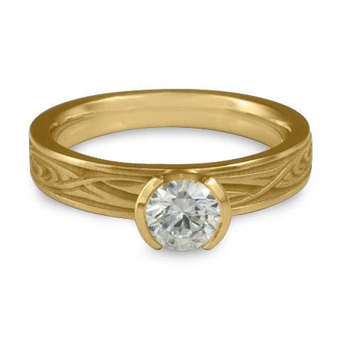 Extra Narrow Yin Yang Engagement Ring in 14K Yellow Gold With Diamond