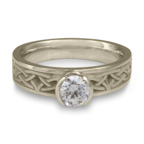 Extra Narrow Celtic Arches Engagement Ring in 14K White Gold with Diamond
