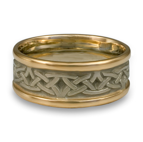 Narrow Two Tone Celtic Arches Wedding Ring in 14K Yellow Gold Borders & White Gold Center