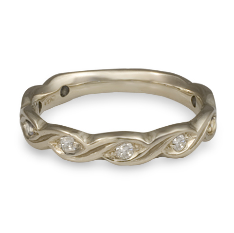 Narrow Tides Wedding Ring with Gems in 14K White Gold