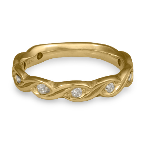 Narrow Tides Wedding Ring with Gems in 14K Yellow Gold