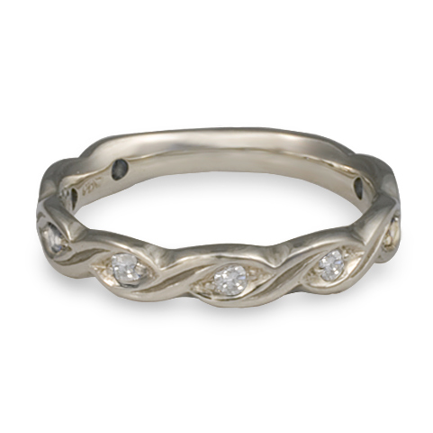 Narrow Tides Wedding Ring with Gems in Palladium