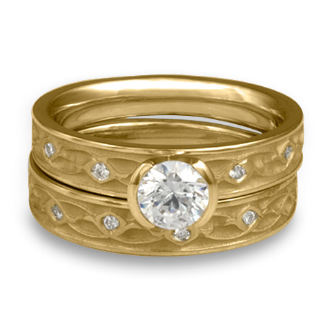 Extra Narrow Water Lilies Bridal Ring Set with Gems in 18K Yellow