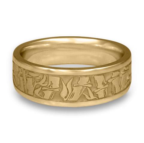 Wide Bamboo Wedding Ring Platinum