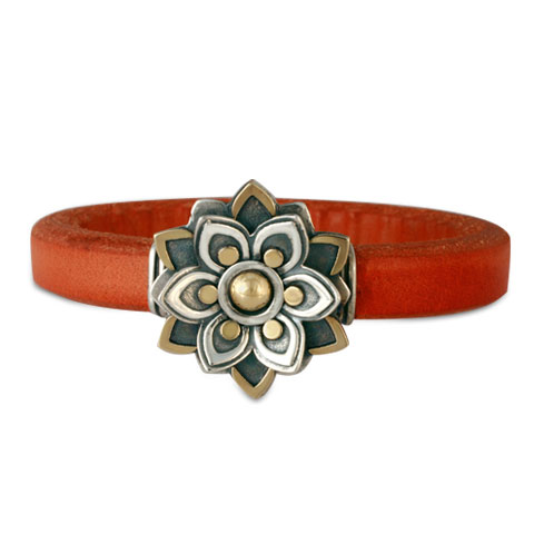 Kamala Leather Bracelet in Orange Leather