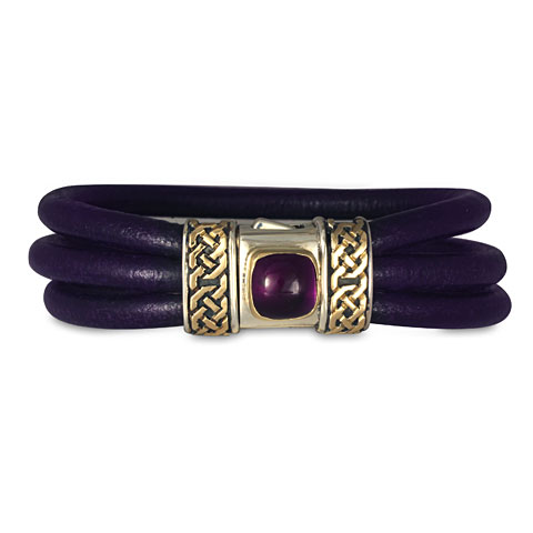 Shannon Leather Bracelet with Amethyst in