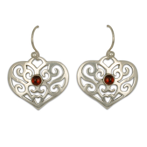 Collette's Heart Earrings with Gem in Garnet