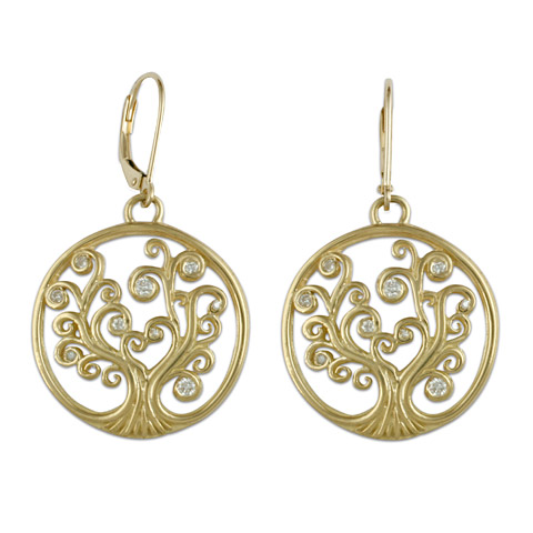 Tree of Life Earrings 18K with Gems in 18K Gold With Diamonds
