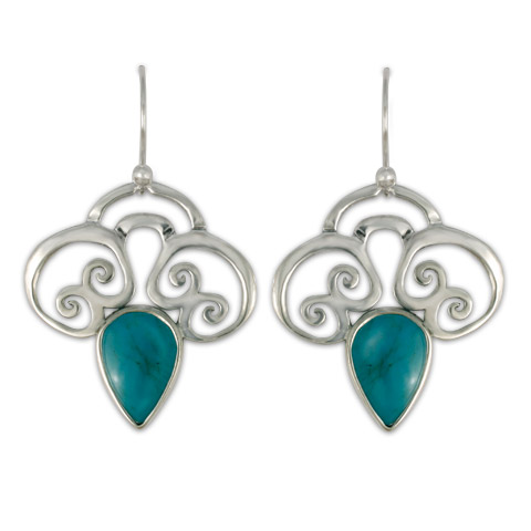 Rose Silver Earrings in Turquoise