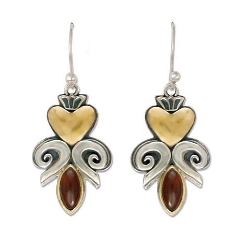 Fleur de lis Heart Earrings in
