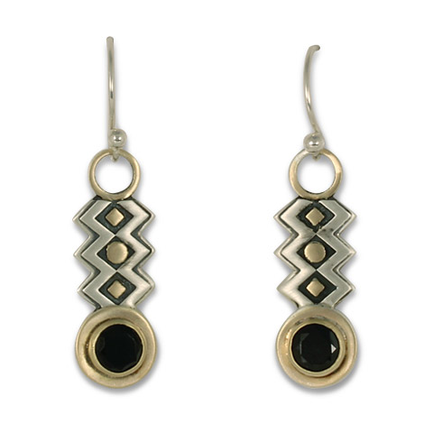 Zig Zag Earrings with Gem in Onyx