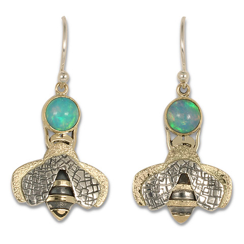 Simply Bee Earrings with Ethiopian Opal in 14K Gold over Silver with Opal gem