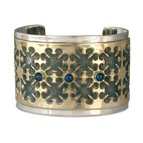 One-of-a-Kind Castillo Cuff Bracelet in 14K Gold, Sterling Silver & Iolite
