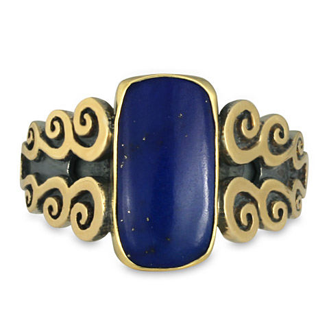 One-of-a-Kind Cascade Ring with Lapis in 18K Gold, Sterling Silver & Lapis