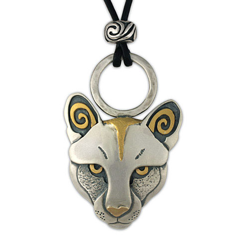 Mountain Lion Pendant in 24K Gold &Sterling Silver