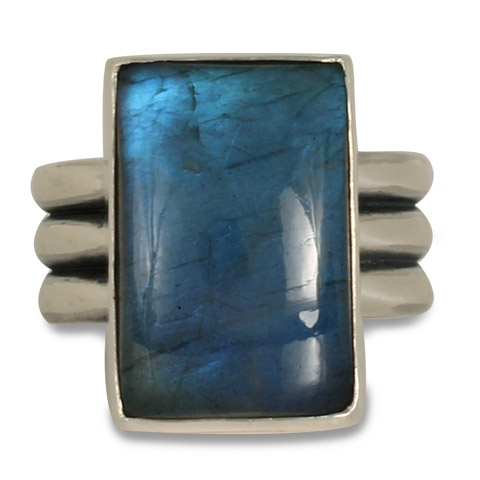 One-of-a-Kind Labradorite Three Bar Ring in