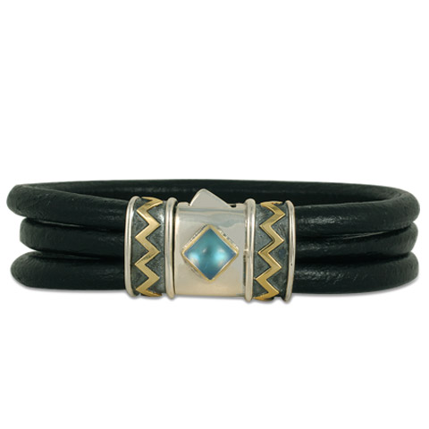 One-of-a-Kind Zig Zag Leather Bracelet in