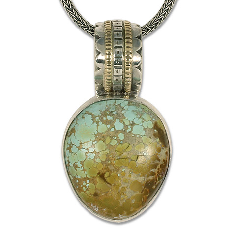 One-of-a-Kind Turtle with Roystan Natural Turquoise Pendant in