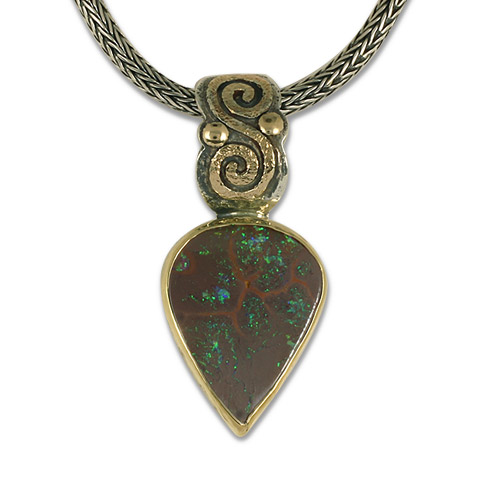 One-of-a-Kind Boulder Opal Infinity Pendant in