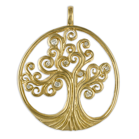 Tree of Life Pendant 18K with Gems in