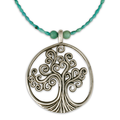 Tree of Life Pendant on Turquoise Beads in