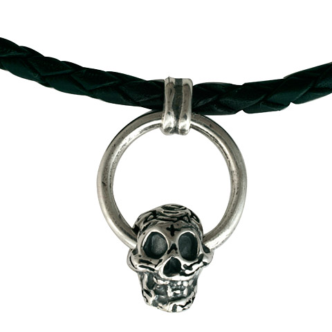Skull & Leather Necklace in