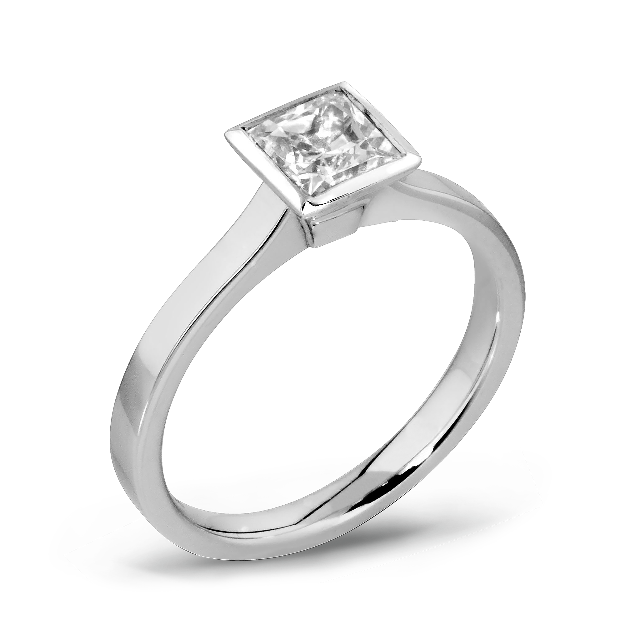 Princess Cut Diamond Fairtrade Gold Engagement Ring in 18K White Fairtrade Gold