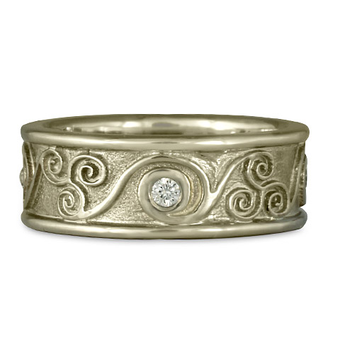 bordered triscali with diamonds ring - Artisan Wedding Rings