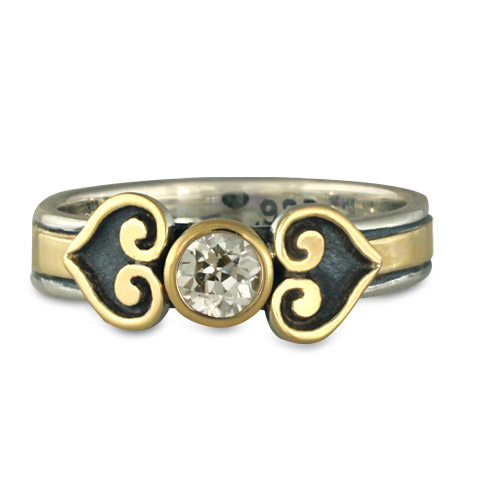 Corazon Engagement Ring in 14K Yellow Gold & Sterling Silver
