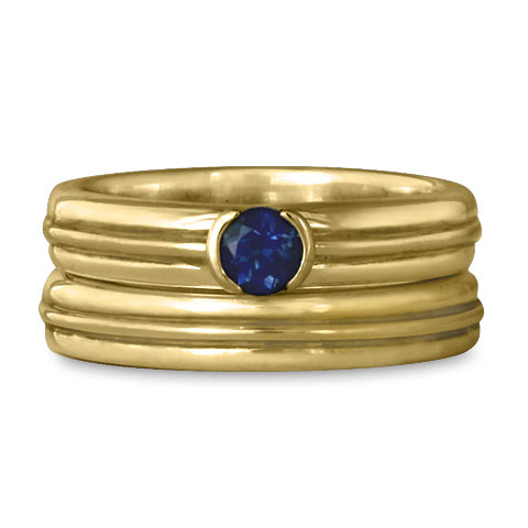 Windsor Bridal Ring Set in 14K Yellow Gold With Sapphire