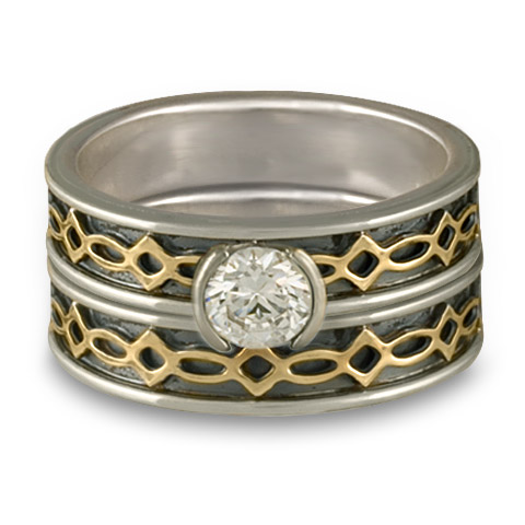 Bordered Felicity Bridal Ring Set in Sterling Borders/18K Yellow Center/Sterling Base With Diamond