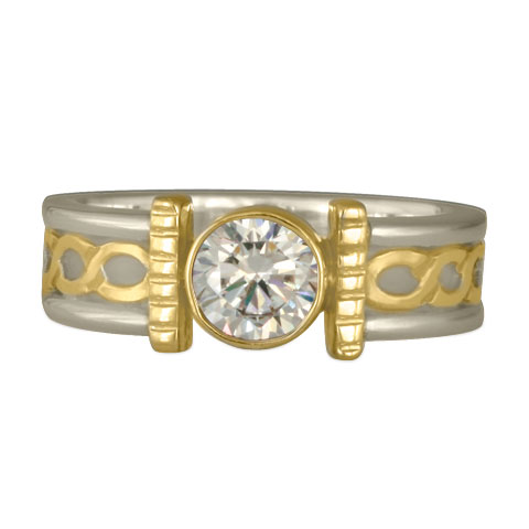 Open Rope Engagement Ring in 14K White Gold Base & 18K Yellow Center Design