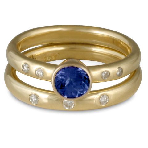 Simplicity Bridal Ring Set with Gems in Sapphire