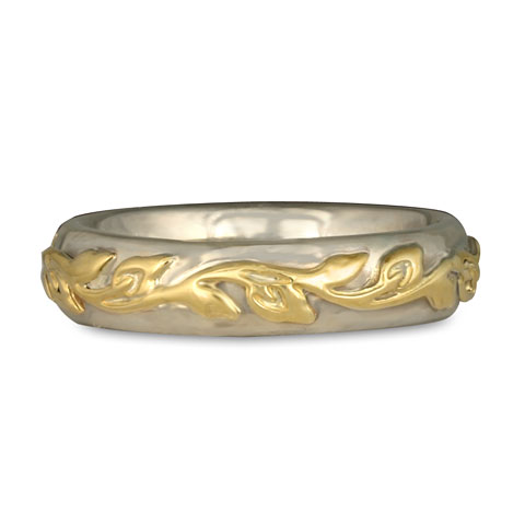 Flores Classic Wedding Ring in 14K White Gold & 18K Yellow Gold