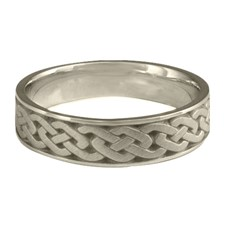Narrow Celtic Link Wedding Ring in 14K White Gold
