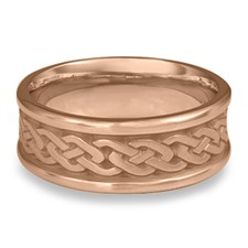 Narrow Self Bordered Celtic Link Wedding Ring in 14K Rose Gold