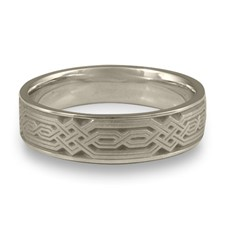 Narrow Persian Wedding Ring in 14K White Gold
