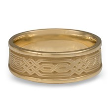 Narrow Self Bordered Persian Wedding Ring in 14K Yellow Gold