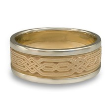 Narrow Two Tone Persian Wedding Ring in 14K White Gold Borders w 14K Yellow Gold Center