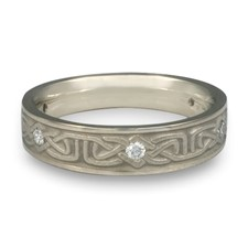 Extra Narrow Labyrinth Wedding Ring with Gems  in 14K White Gold