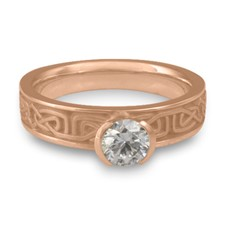 Extra Narrow Labyrinth Engagement Ring in 18K Rose Gold
