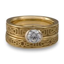 Extra Narrow Labyrinth Bridal Ring Set in 14K Yellow Gold